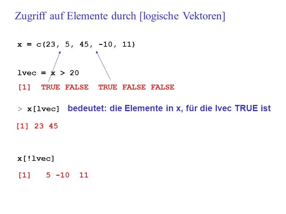 Zugriff auf Elemente durch [logische Vektoren]
